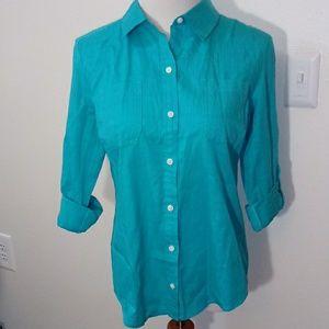 5/$25 Karen Scott blue/ green shirt size p/m